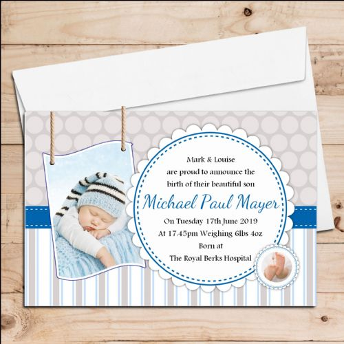 10 Personalised Baby Boy Birth Announcement Thank You PHOTO Cards N123